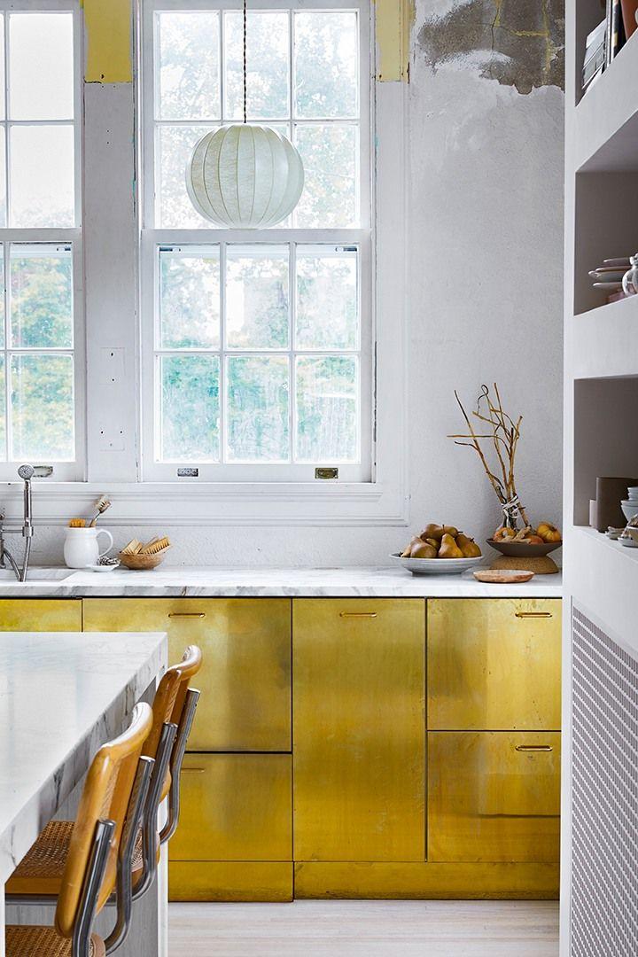 Liz Gardner S Home Tour Will Make You Rethink Brass Farmhouse Style Kitchen Cabinets Kitchen Cabinet Styles Metal Kitchen Cabinets