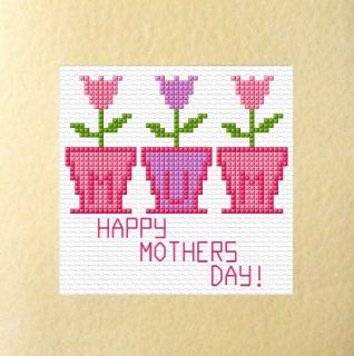 "3 Flower Pots ""MUM"" - Happy Mothers Day Cross Stitch Card Kit 5.5"" x 5.5"""