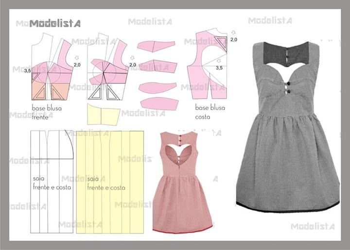 Drafting diagram for sweetheart neckline dress with heart cut out.