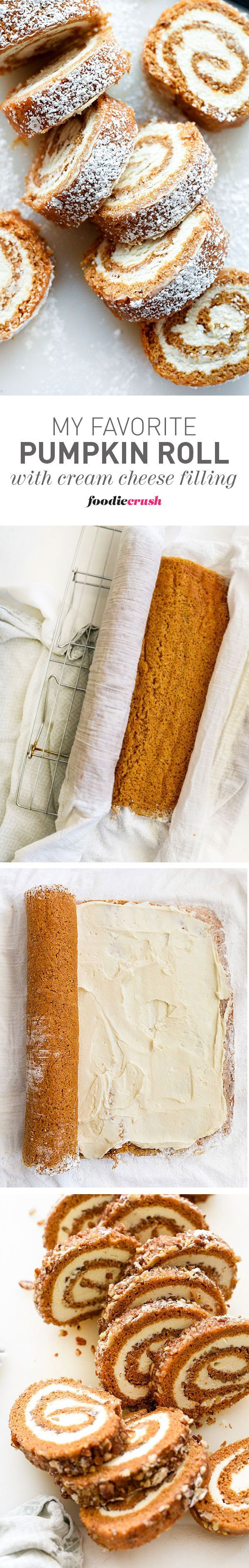 Does the world need another Pumpkin Roll recipe? YES IT DOES! This is my favorite recipe for Pumpkin Roll with Cream Cheese Filling that I've eaten every fall since I was a kid. It's the best! (with and without nuts versions) | http://foodiecrush.com