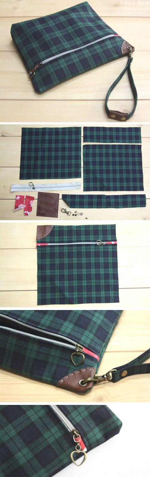 Zippered Pouch with Wrist Strap - Sew DIY Tutorial http://www.handmadiya.com/2015/11/easy-wrist-strap-tutorial.html