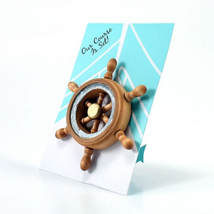 This little boat wheel magnet is a clever way to promote a nautical event, complement a boat theme party or announce an upcoming destination wedding