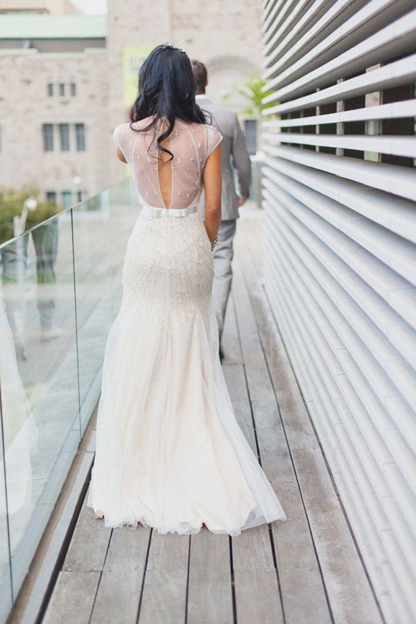 Perfect Beautiful low back with illusion open back and lace appliqued design Luxury Bridal Dresses Galia