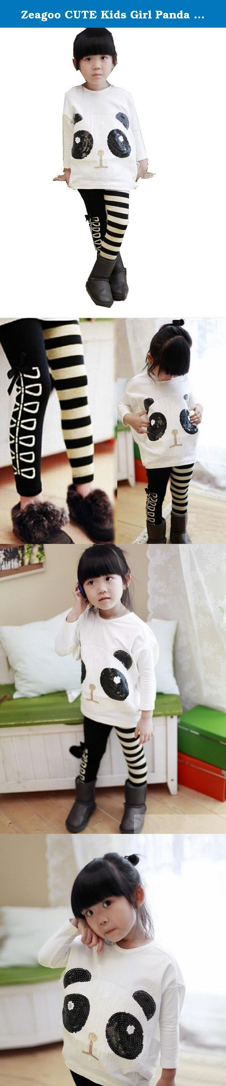 "Zeagoo CUTE Kids Girl Panda Over Hip T-Shirt Batwing Top+ White Black Striped Leggings. 100% Brand New. Material: Cotton Blend Color: Black+ White Collar: O-neck Department Name: Baby Girls Sleeve style: Batwing sleeve Tops Measurement: Tag. NO 100-----Recommend Height 90-100cm-----Recommend age 2-3Y -----Length 14.04""-----Bust 35.1"" Tag. NO 110-----Recommend Height 100-110cm-----Recommend age 3-4Y -----Length 14.82""-----Bust 35.88"" Tag. NO 120-----Recommend Height 110-120cm-----Recommend..."