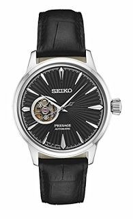 """""""Features & Benefits"""" Seiko Men's Presage Automatic Cocktail Time Black Dial Leather Band Dress Watch - Model: SSA359"""