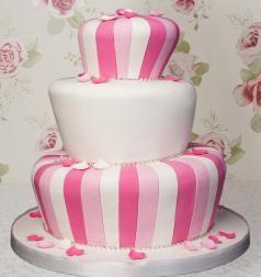 Pink striped wonky wedding cake
