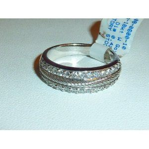 Philippe Charriol Flamme Blanche� Collection solid 18k white gold double cable wedding band with 0.50 cttw round pave diamonds. Weight is 6.5 grams. Gift boxed.