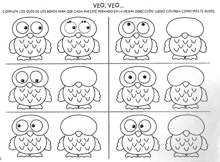 Uilen, schrijfpatroon voor kleuters en visuele discriminatie van de ogen