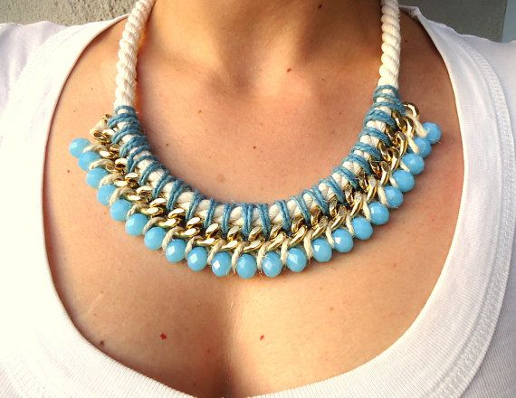 Aqua Blue-Ecru Beige Bib Rope and Chain Necklace/knotted necklace/Sky Blue/Statement necklace/Ethnic/Tribal/spring summer trends 2014/OOAK
