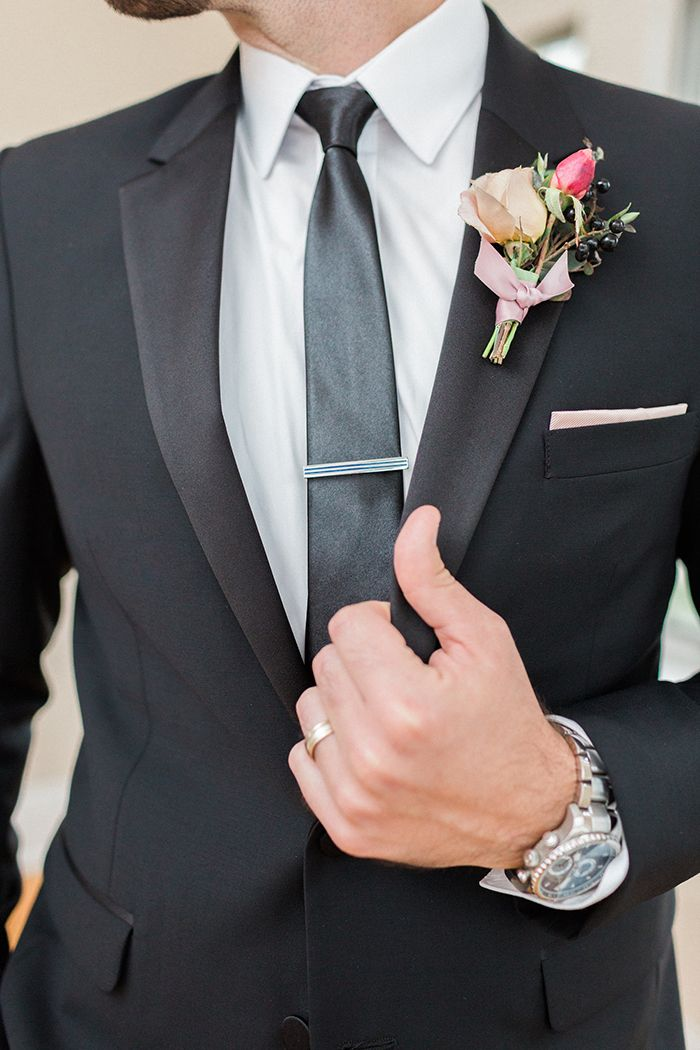 Modern Black Tie Groom's Style with a Pink Boutonniere  https://heyweddinglady.com/blush-mauve-wedding-inspiration-rainy-garden/    #wedding #weddings #weddingideas #engaged #pink #pinkweddings #mauve #weddingdecor #eventdesign #groom #suits