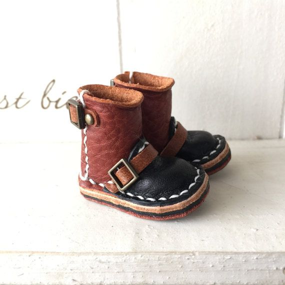 Real Leather:1/6 Blythe boots/brown&black color/ by Amabiledoll