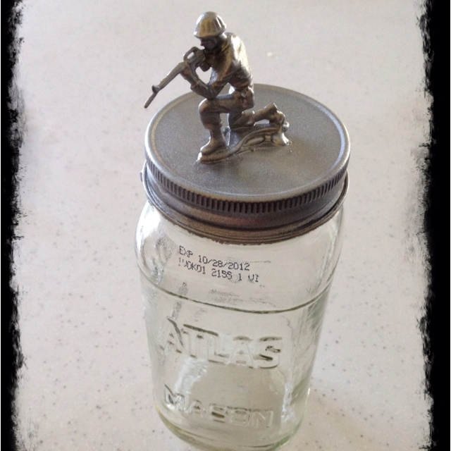 DIY craft for boys...money/trinket jar protected by army guy....hot glue gun army guy to mason jar lid and then spray paint...my son loved making this