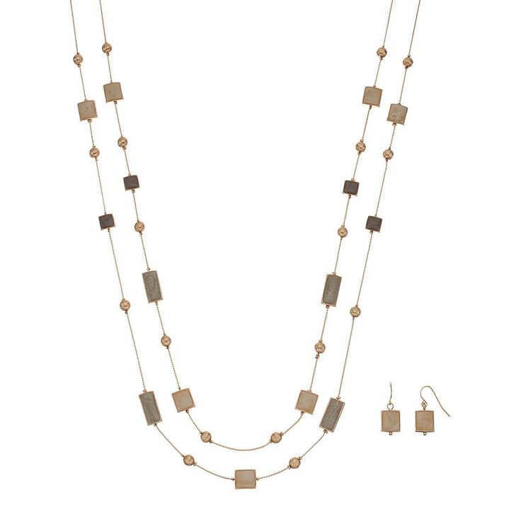 Double Strand Rectangle & Square Necklace & Drop Earring Set, Women's, Brown