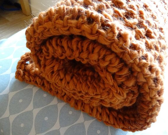 Crocheted chunky wrap blanket in a beautiful orange -Crochet Baby Blanket - Alpaca Blanket - Crocheted Blanket - Chunky Throw Blanket - Chunky Afghan - Uncinetto - Couverture - крючком одеяло handmade by SNOOZE