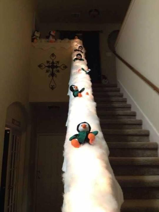 Penguin slide... this would be cute with polar bears too