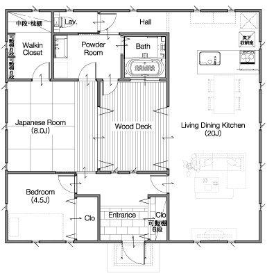 ゼロキューブ沖縄 木造新築住宅 戸建分譲:回KAI -ACT1-の間取り