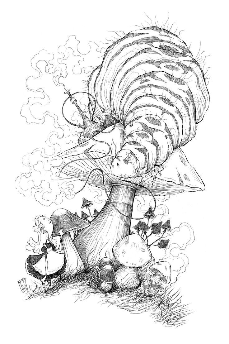 Caterpillar Mushroom Alice Wonderland Painting