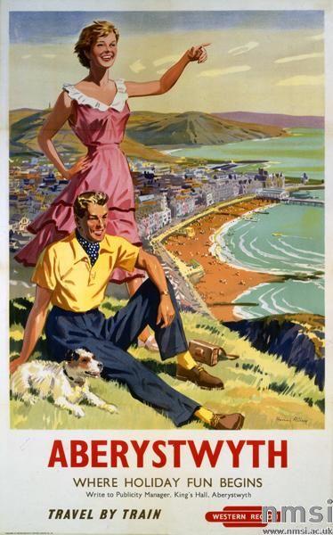 Poster of British Railways (Western Region), Aberystwyth [Wales] Where Holiday Fun Begins, by Harry Riley, about 1956.