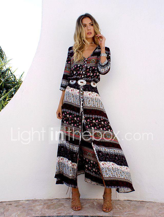 Women's Beach Holiday Boho A Line Dress,Print V Neck Maxi Long Sleeve Cotton Summer Inelastic 2017 - $11.19