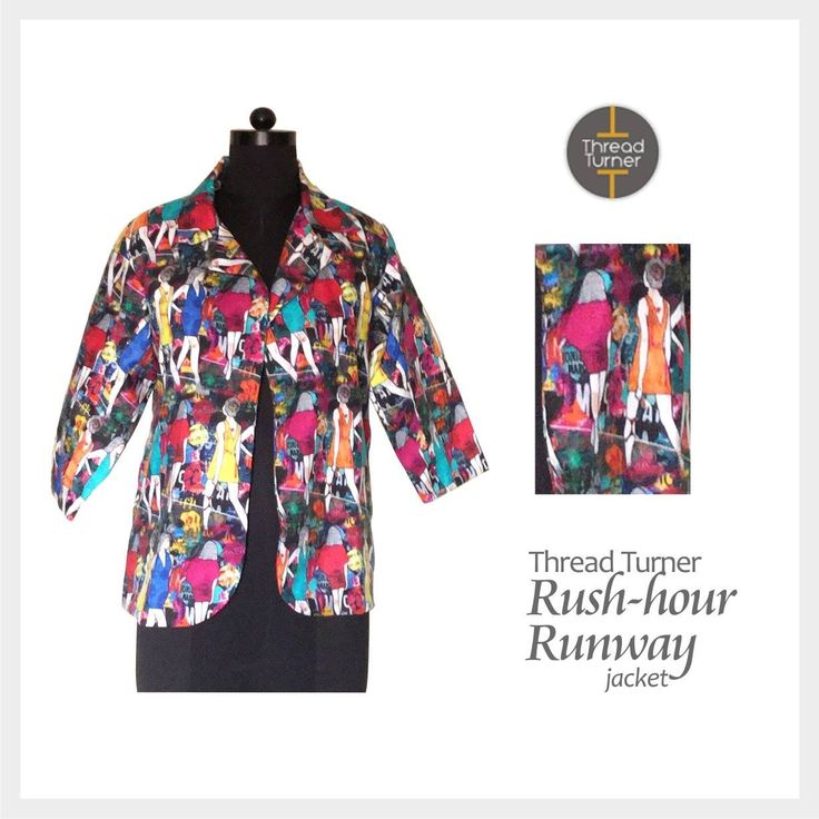 Breezy. Quirky. Comfortable.  Featured here is Thread Turner's 'Rush-hour Runway' Jacket.  #ThreadTurner #Printed #Jacket #WorkingWomen
