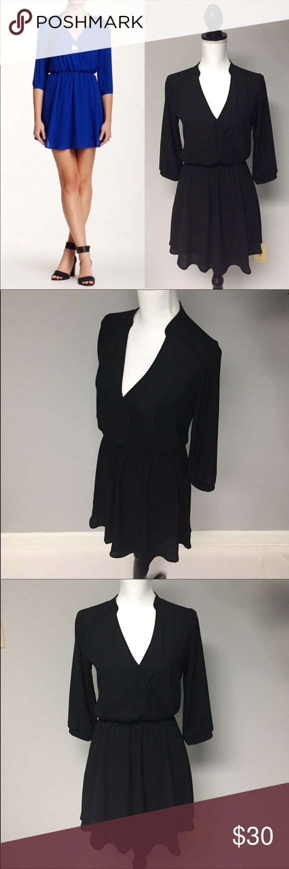 """LUSH Black Little Dress Nordstroms 3/4 sleeve EUC! This gorgeous sexy LUSH dress from Nordstroms is in EXCELLENT condition! No flaws! V-Neck. 3/4 sleeves. Built in slip. Bust 38"""" Waist (stretched) 35"""" From top of shoulder to bottom of dress 33"""" Forever 21, Top Shop, H&M, Free People, Brandy Melville, Pacsun, Lucky Brand, Urban Outfitters, Ralph Lauren, Express Michael Kors, Madewell, American Rag, Macy's, Zara, Mod cloth, Betsey Johnson, Burberry, Coach, Nordstroms, Nicole Miller, The Loft…"""