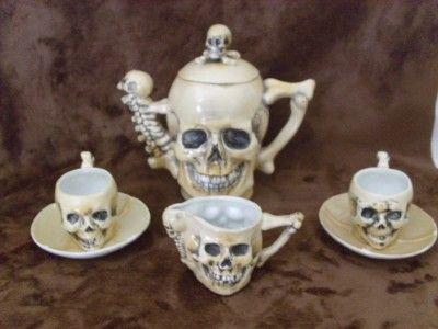 RARE Antique Late 1800 039 s Skulls Fine Porcelain Teapot Tea Cup Saucer Amp Creamer   eBay