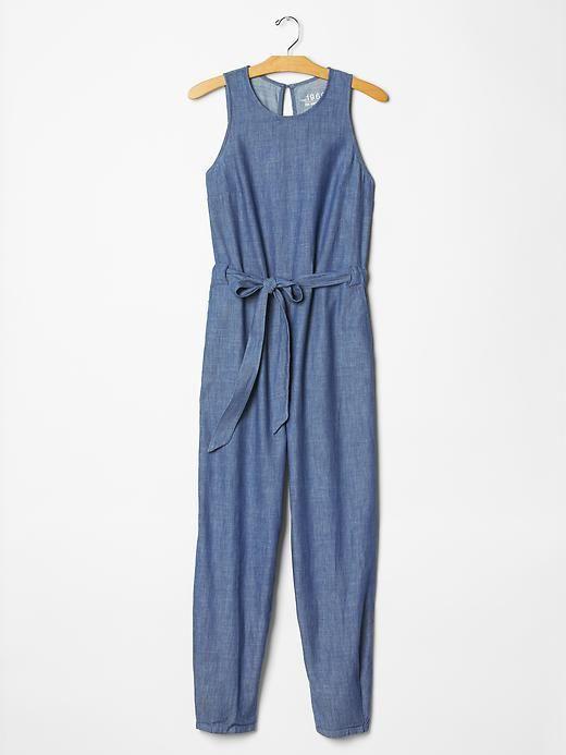 1969 slit back denim jumpsuit