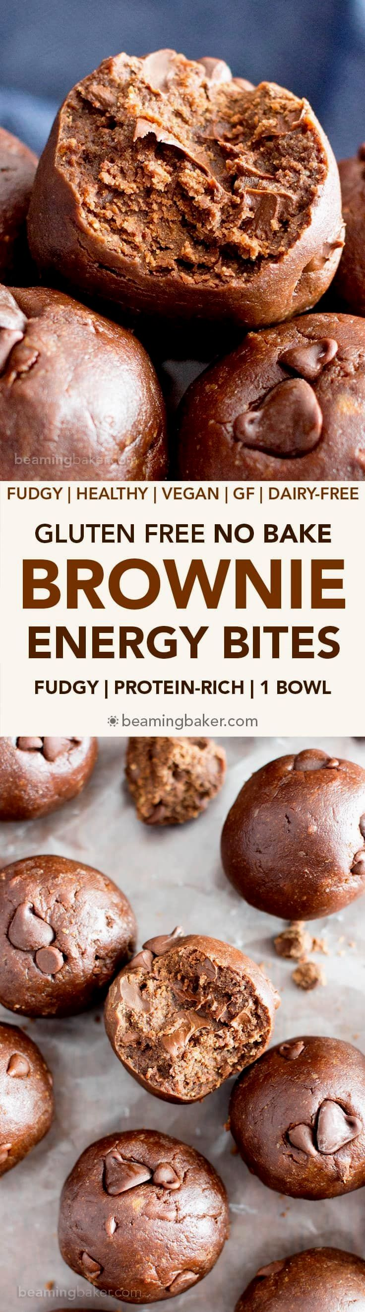 Gluten Free No Bake Brownie Energy Bites (V, GF): a one bowl recipe for fudgy, rich, 7-ingredient no bake bites that taste just like decadent brownies. Vegan, Protein-Packed, Gluten Free, Dairy-Free.