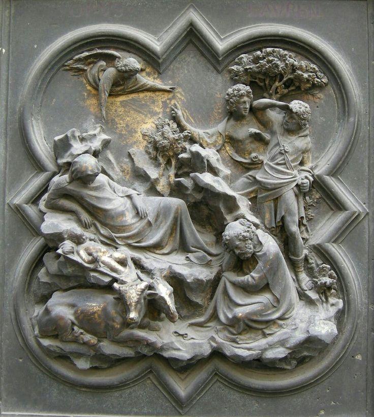 Porta Nord del Battistero di Firenze.  Annuncio ai pastori. 1407-1424