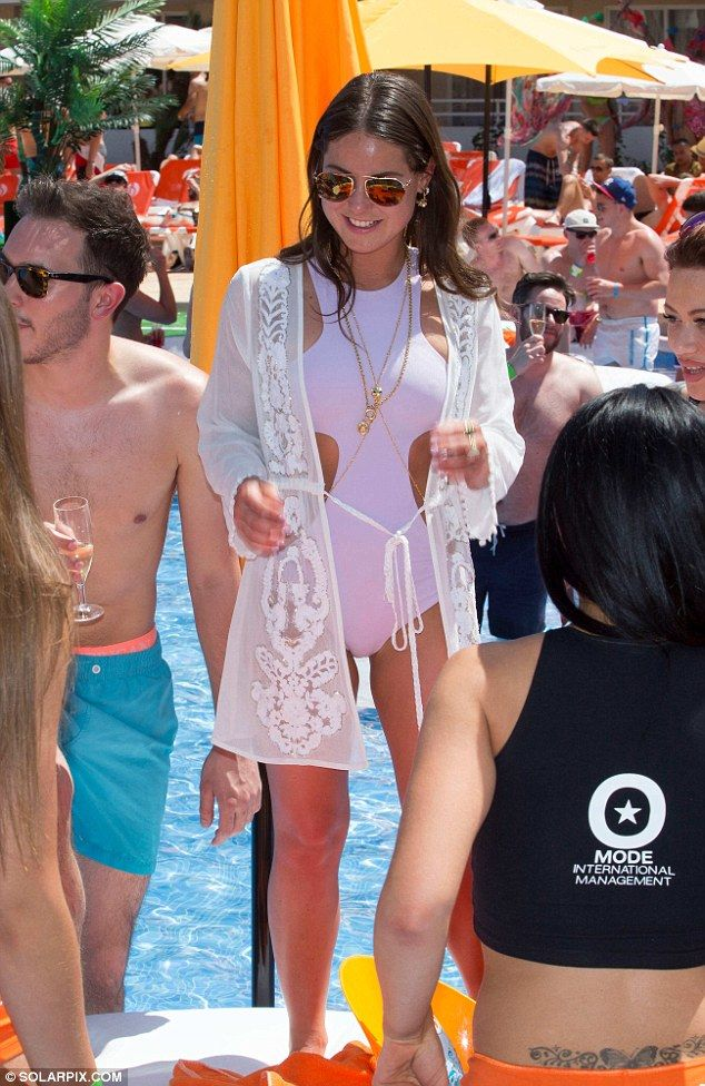 Made in Chelsea star Louise Thompson wows in cut-out swimming costume #dailymail