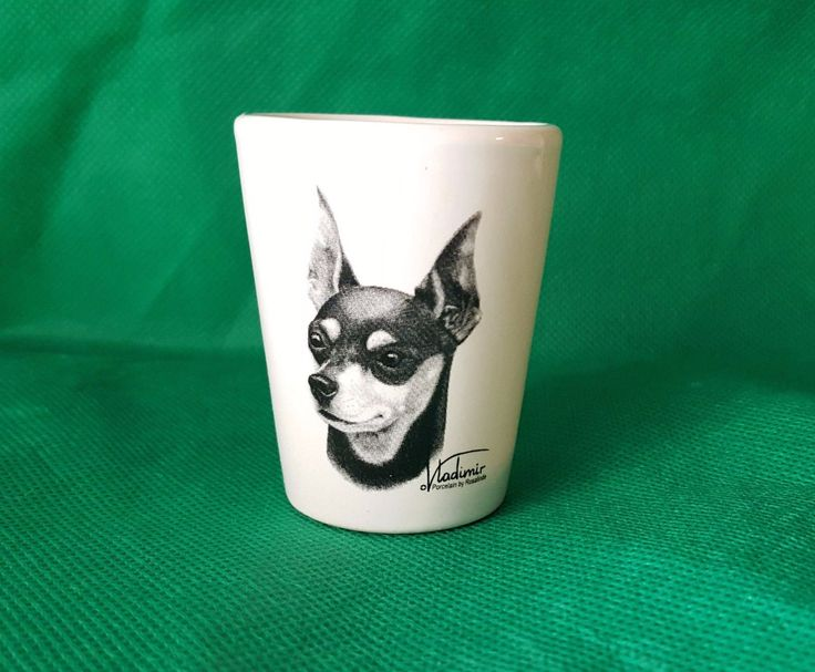 Artwork by World Renown Vladimir Tzenov. NEW Dog Breed Shot Glass. Hand decorated in the USA by Rosalinde but glass is from China.   eBay!