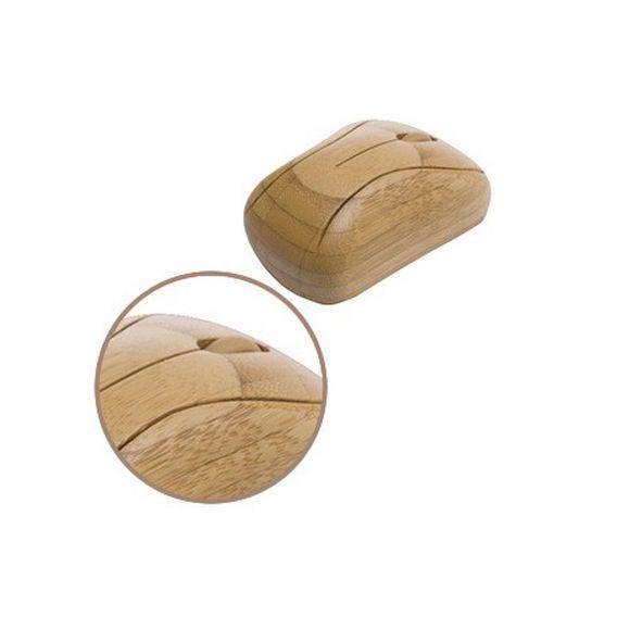 COD.BU029 Mouse Inalámbrico de Bambú, usa pilas.