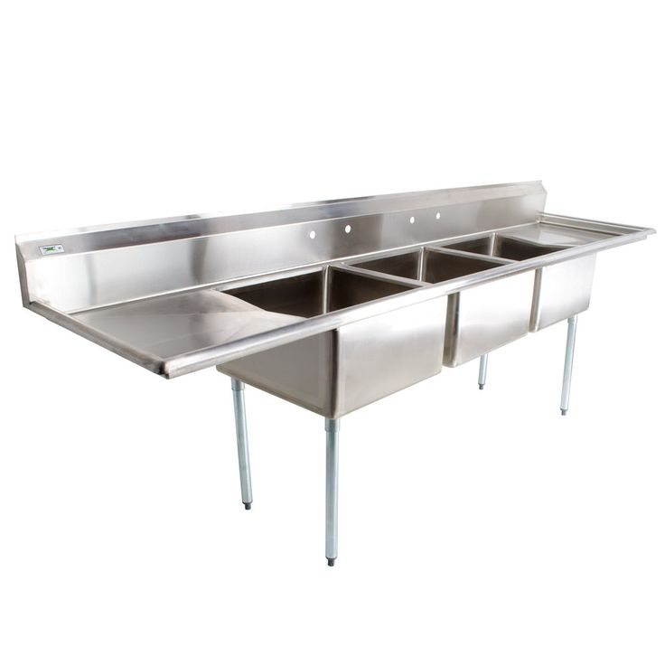 """Regency 16 Gauge Three Compartment Stainless Steel Commercial Sink with 2 Drainboards - 124"""" Long, 24"""" x 24"""" x 14"""" Compartments"""