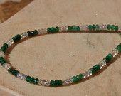 Petite Emerald and White Sapphire Precious Gemstone Bracelet
