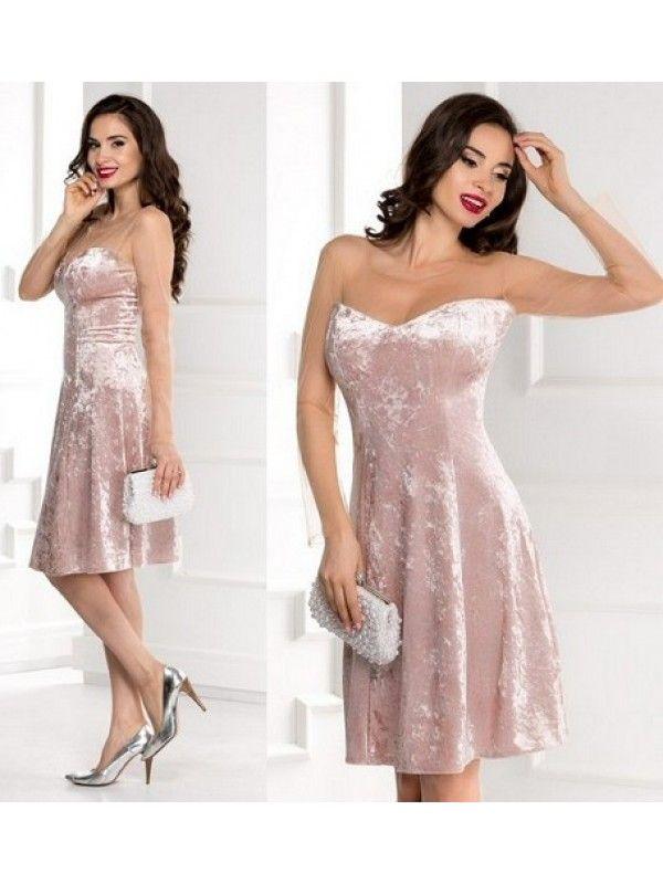 Rochie de ocazie midi din catifea cu reflexe roz pudrat Dora