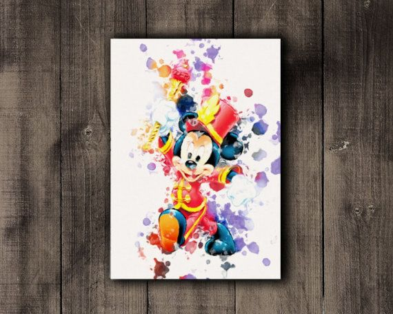 Printable Mickey Mouse Disney Watercolor Print by CoffeeLoffe