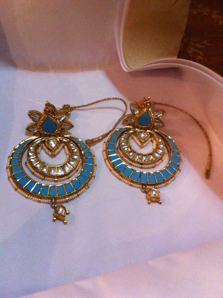 Never seen before turquoise chand balis. These exquisite earrings are available at CBSN Talwar Jewellers New Delhi. Price on request