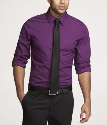 Groomsmen: No vest or jacket. Purple Shirt & Black Tie