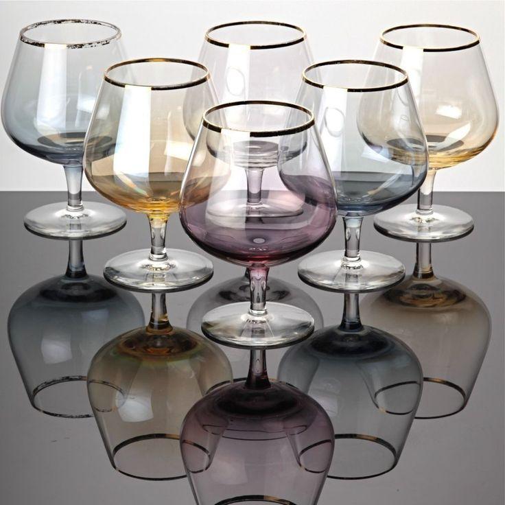 6 Cognacgläser Cognacschwenker Pastell Goldrand zarte bunte Gläser ~ 50er 60er
