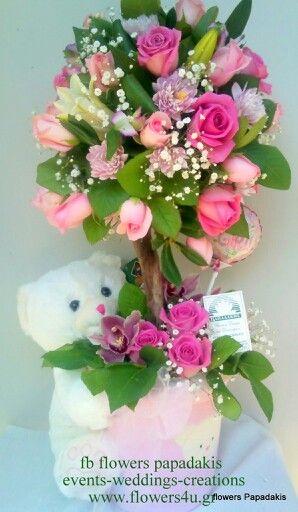 σύνθεση για βάπτιση σε ροζ χρώμα by flowers papadakis