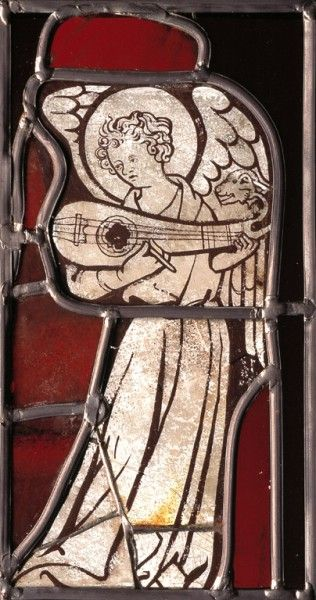 musician angel,stained glass ,c1310 Rouen Cathedral