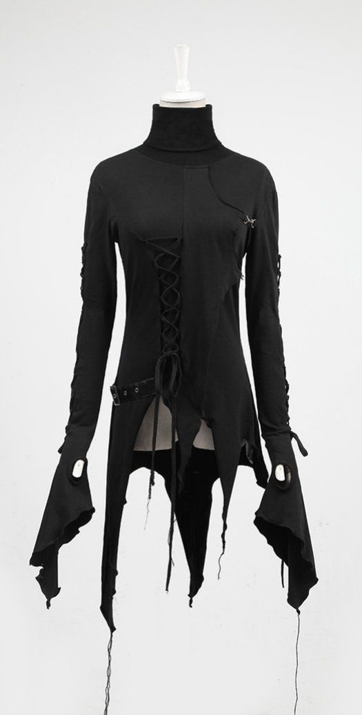 asymmetric black long sleeve tunic <3