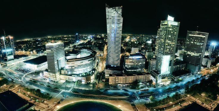 Warszawa, Budynku, Miasta, Antena, Centrum, Akumulacji