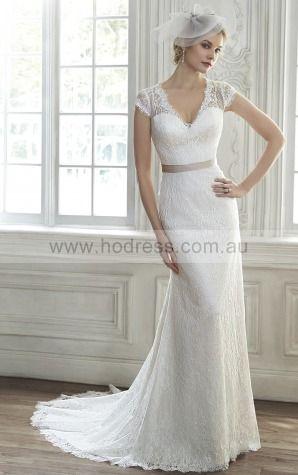 Sheath Deep V-neck Empire Short Sleeves Floor-length Wedding Dresses wfs0060--Hodress