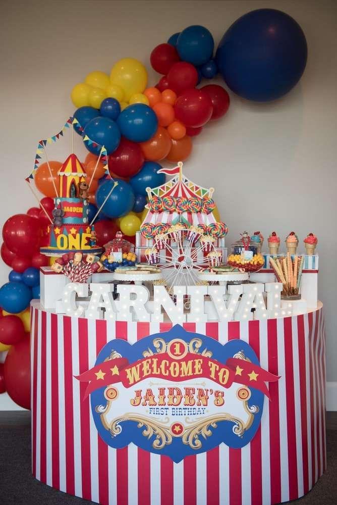 Carnival Birthday Party Ideas Photo 1 Of 20 Circus Birthday Party Theme Carnival Birthday Parties Carnival Birthday