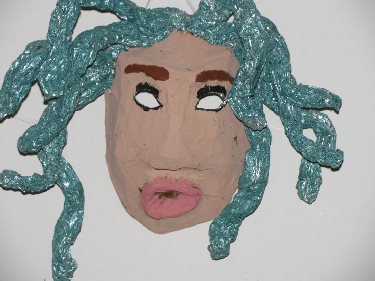 3rd grade ancient Greek mythology paper mache mask; nose and mouth ...