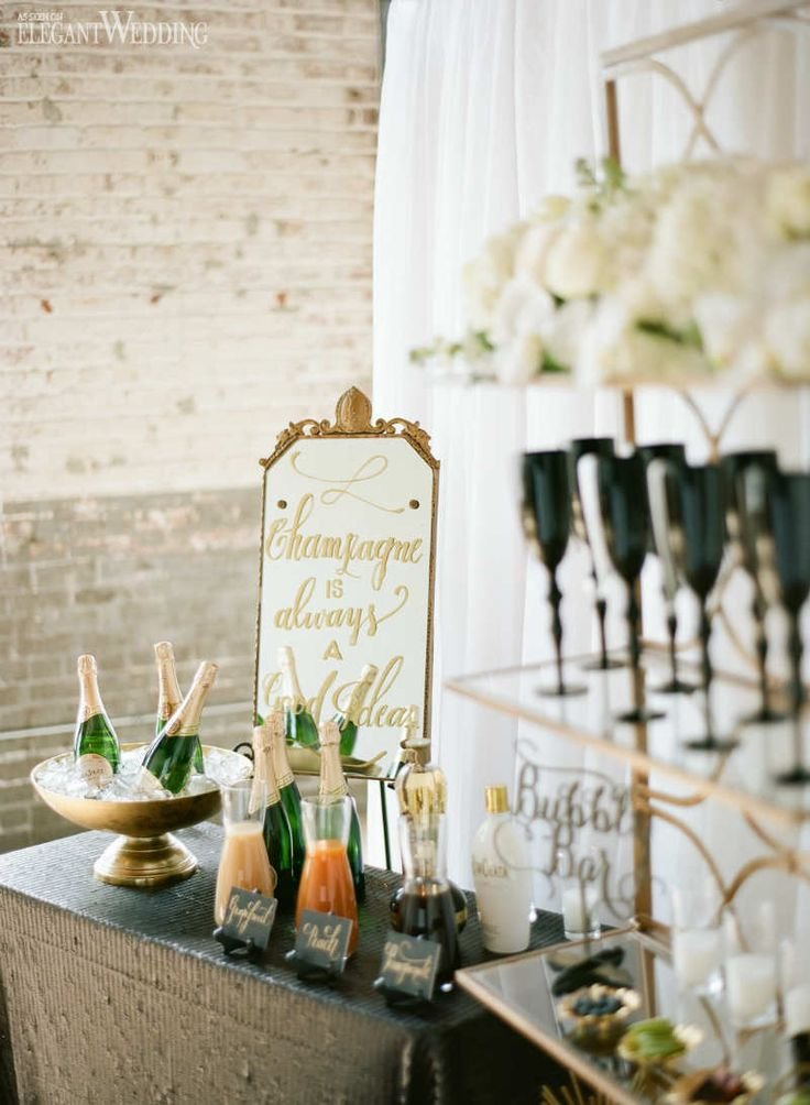 Champagne Bar Display Ideas, Vintage Art Deco Rehearsal Dinner Inspiration www.elegantwedding.ca