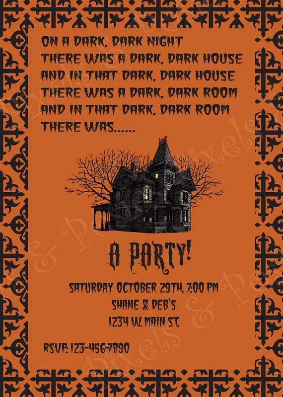 very creative halloween invitation for sale at etsy from pixelsandposies nice - Creative Halloween Party Invitations