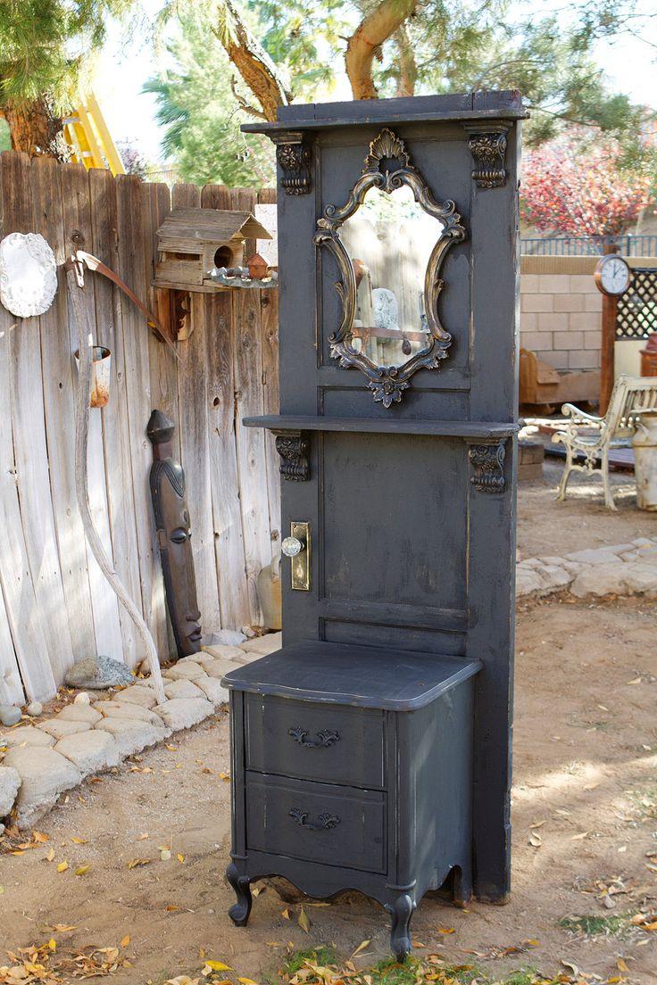 Hall Tree Door Now How Cool is thiss! Door, nightstand, mirror and a shelf way too cool!