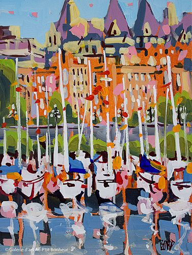 Rick Bond, 'Masts Of The Inner Harbour ', 12'' x 16'' | Galerie d'art - Au P'tit Bonheur - Art Gallery